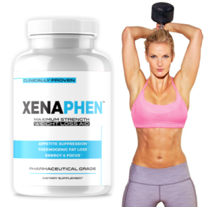 Woman athlete 6 pack abs with a bottle of diet pills containing 60 capsules phen